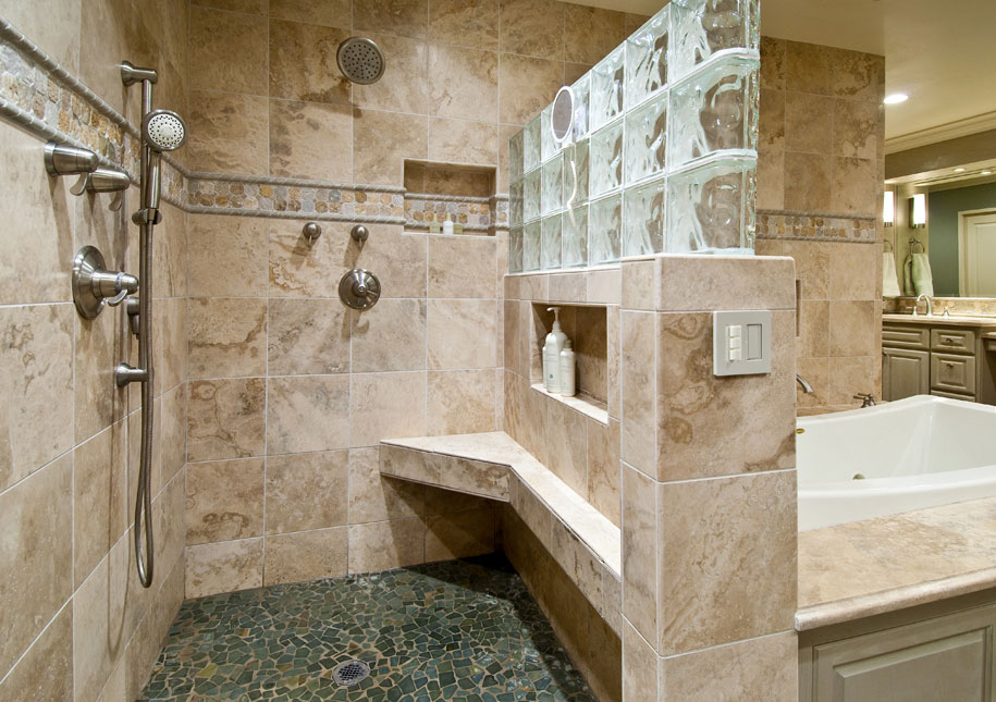 Residential Master Bathroom Remodel With Walk In Shower And Bathtub Cool Flooring Wooden Vanity