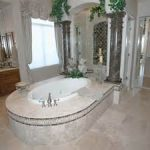 romantic sense in flawless bathroom remodel in high budget with luxury bathum and pretty window curtain plus custom vanity sets