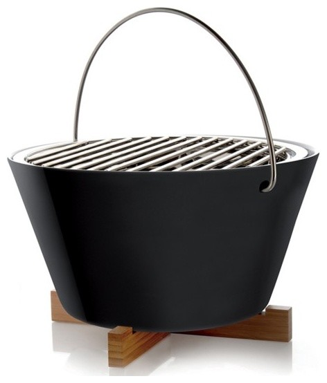 Round Hibachi Grill For Outdoor With Wood Stand And Hanger