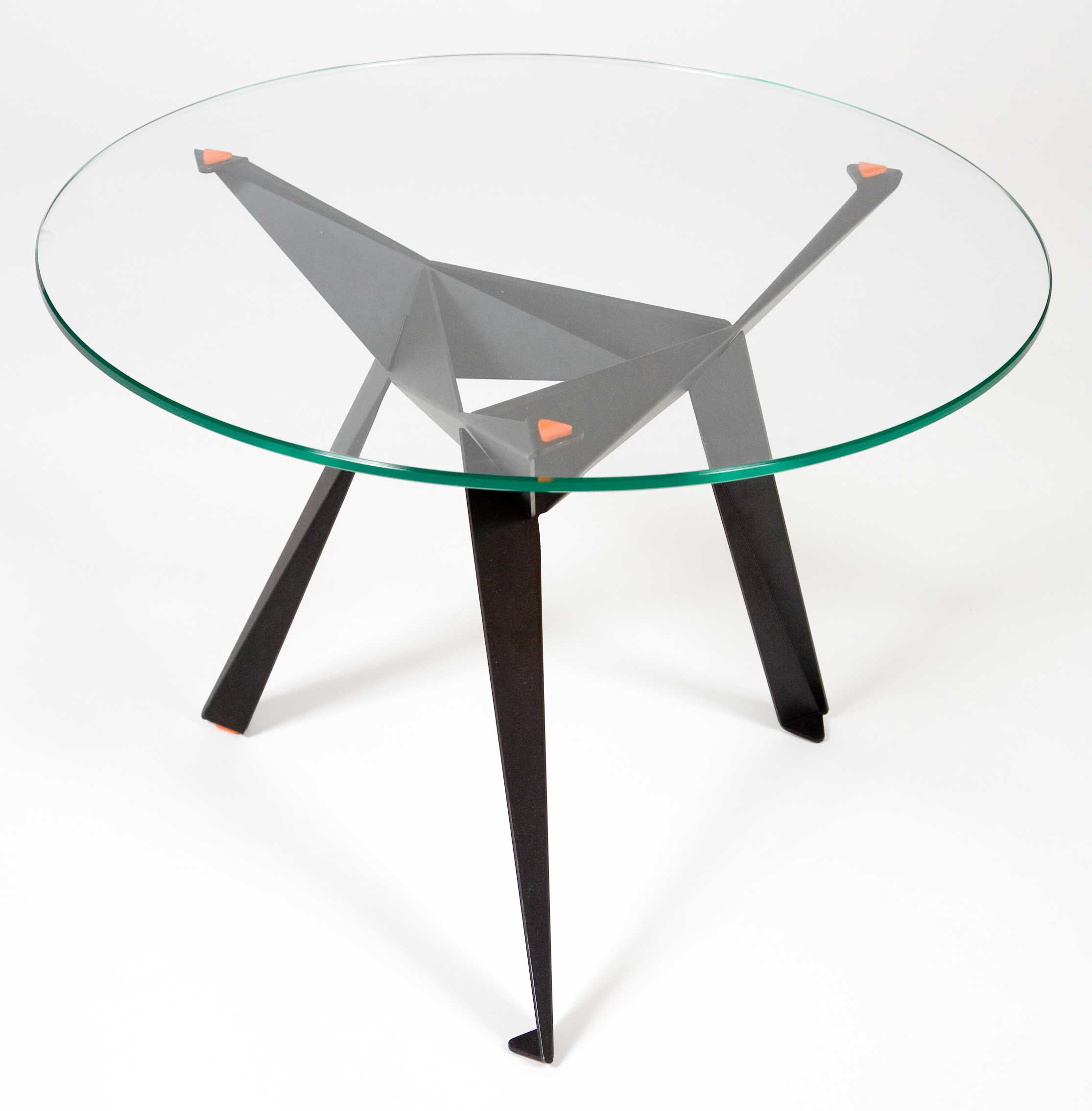 glass desk table tops. Round Glass Desk Table Tops With Origami Feet From Metal