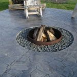 round in-ground fire pit  with a pile of logs