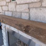 Rustic Stick Driftwood Mantle Design Upon Brick Firplace Ideas On Wooden Floor With Glass Window