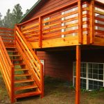 rustic wood vertical deck rails with stairs plus handle