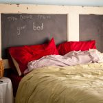 Shabby Style Chalkboard Headboard Idea With Wood Frames Untidy Bed