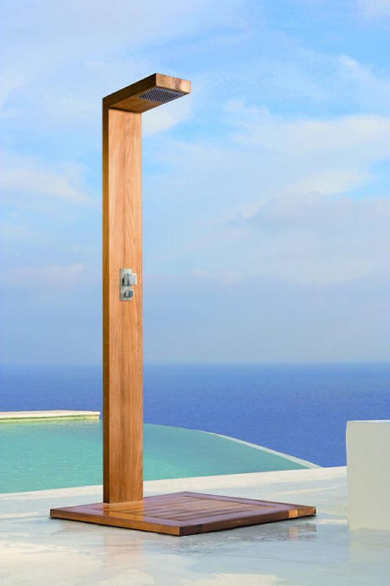 Simple And Minimalist Free Standing Outdoor Shower Stall For Pool Area