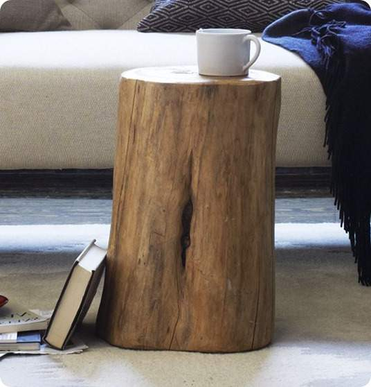 Superbe Simple And Natural Side Table Made From Tree Stump Cut A Book A White Cup  For