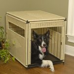 simple but elegant dog crate idea with rattan wall and roof