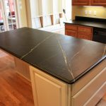 simple but elegant kitchen island with black soapstone surface