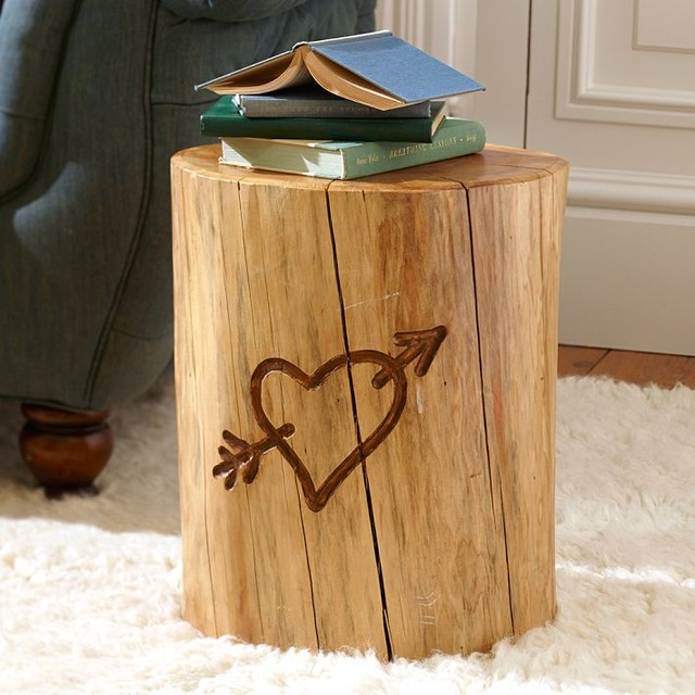 Wood stump side table add stunning and rustic look to a for Wood stump end table