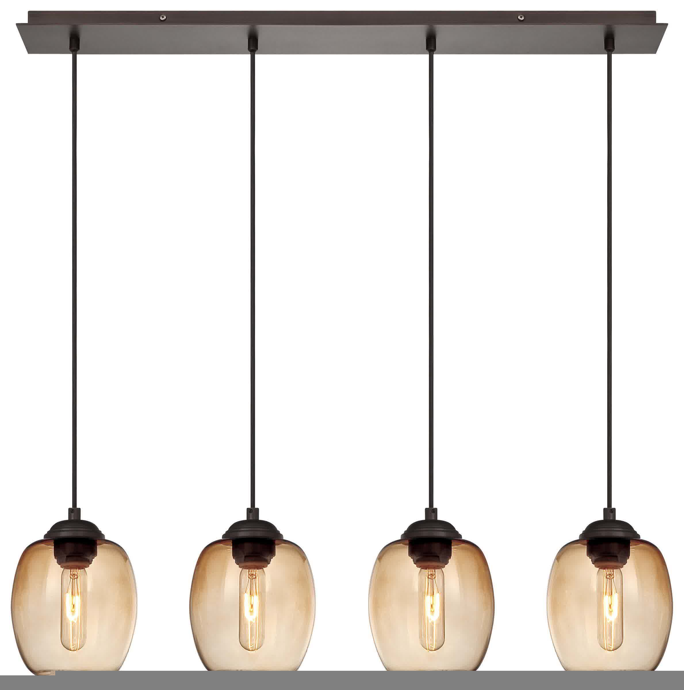 simple george kovacs lighting for kitchen island with four brown lamps