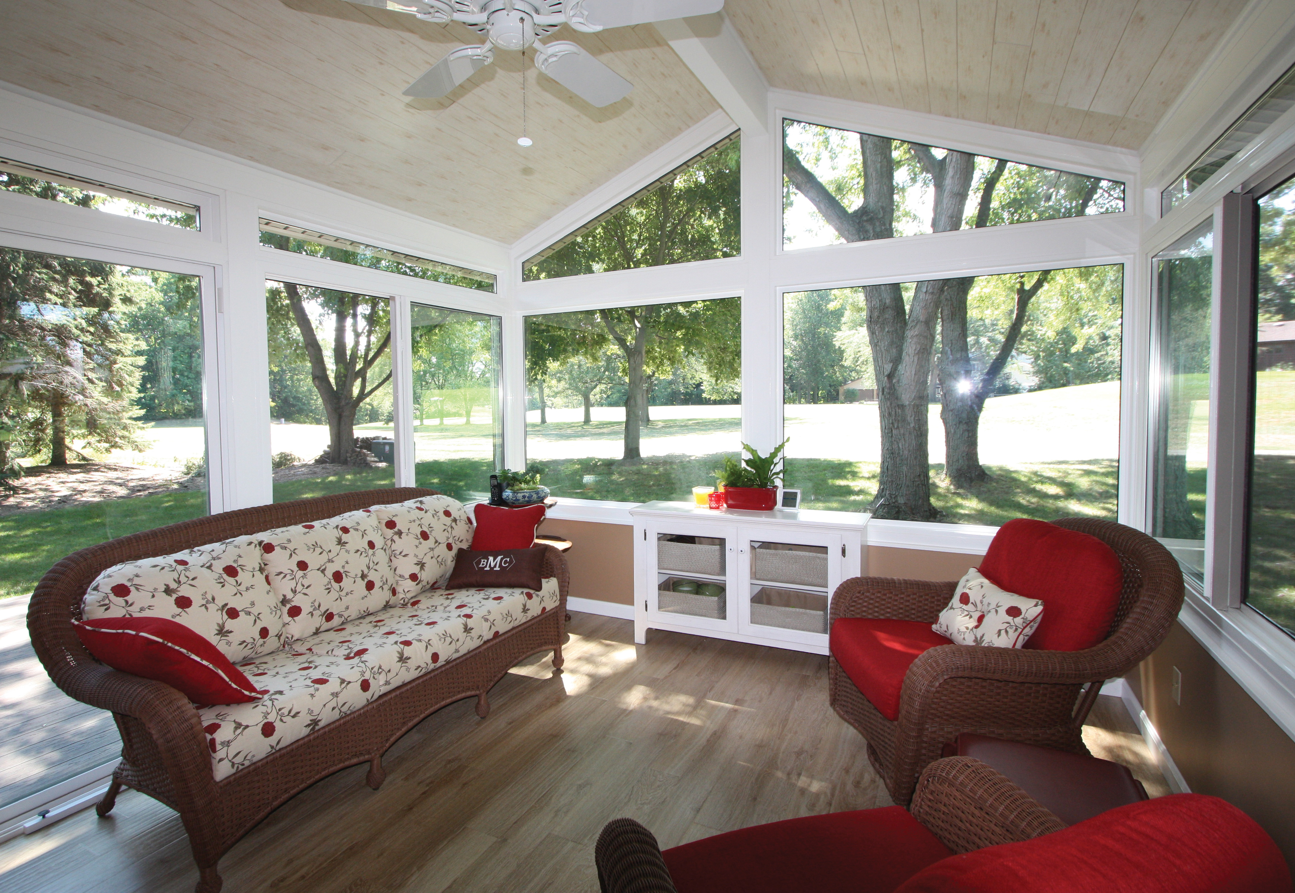 sunroom furniture. simple sunroom with white ceiling fan a set of elegant furniture in red dominant color n