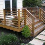 simple wood horizontal deck railings with stairs