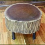 simple wood log side table with metal legs