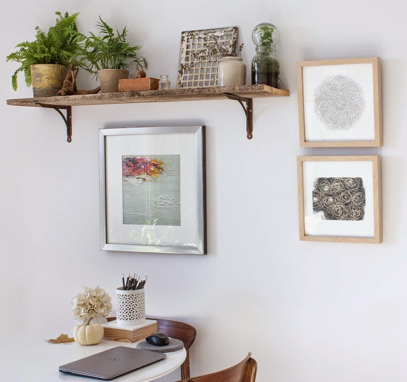 Single Floating Plant Shelf For Indoor With Only Two Pots Of Vivid Plants Some Decorative Paintings