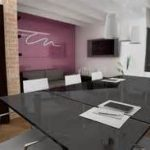 sleek black glass table mixed with cool white pendant lamp for stylish conference room designs with purple accent wall and white acrylic chairs