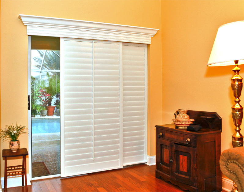 Sliding Glass Door Shutters In White Classic And Luxurious Standing Lamp With Cap Mini Cabinets