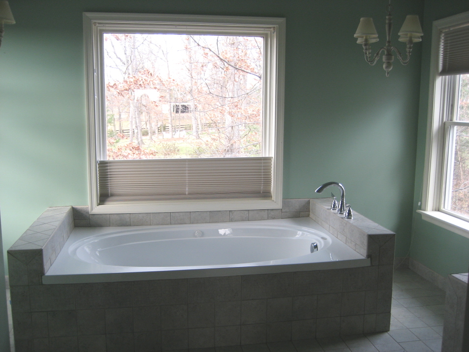 small bathrooms remodeling with bath tub and tile floor plus pendant