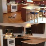 small kitchen remodel before and after color scheme dark cabinets with island bar chair and wall color scheme