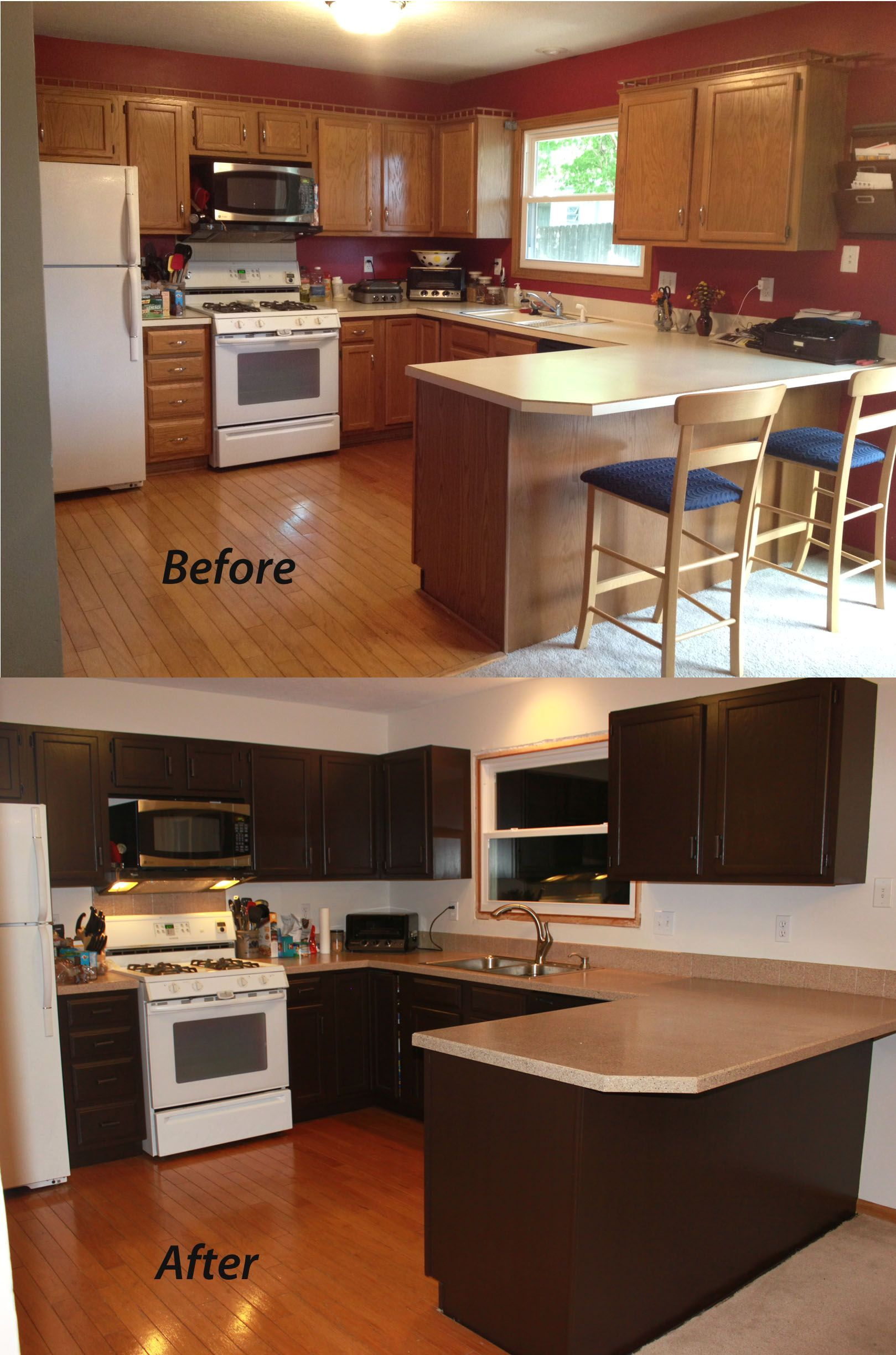 Small Kitchen Remodel Before And After Color Scheme Dark Cabinets With Island Bar Chair Wall