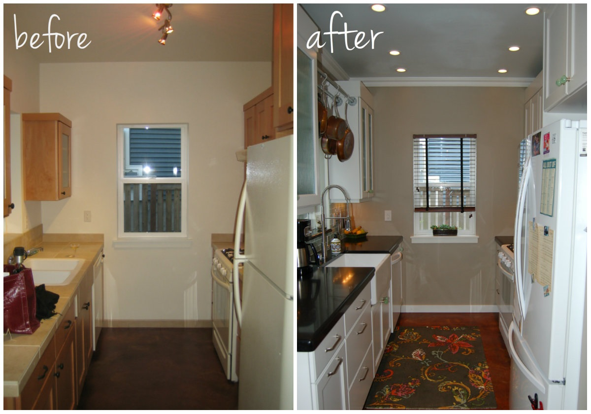 Small Kitchen Remodel Before And After With Light Kicthen Cabinets Color  Schemr And Natural Countertop Plus