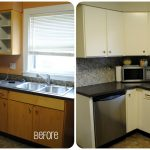 small kitchen remodel before and after with refurnishing cabinets and microwave plus sink and kitchen accessories