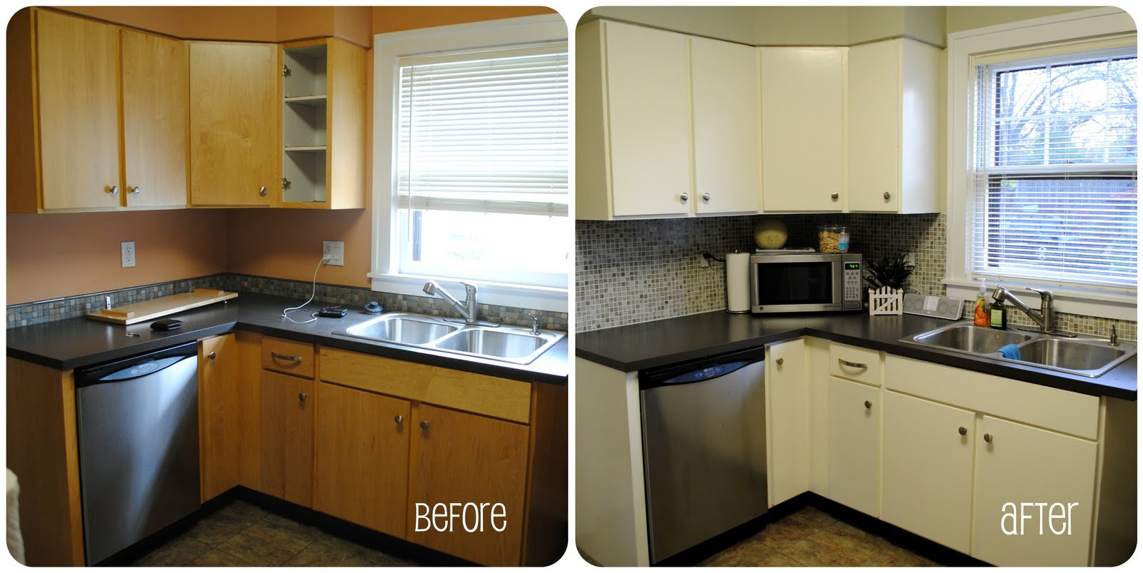 Small kitchen remodel before and after for stunning and for Kitchen cabinets before and after
