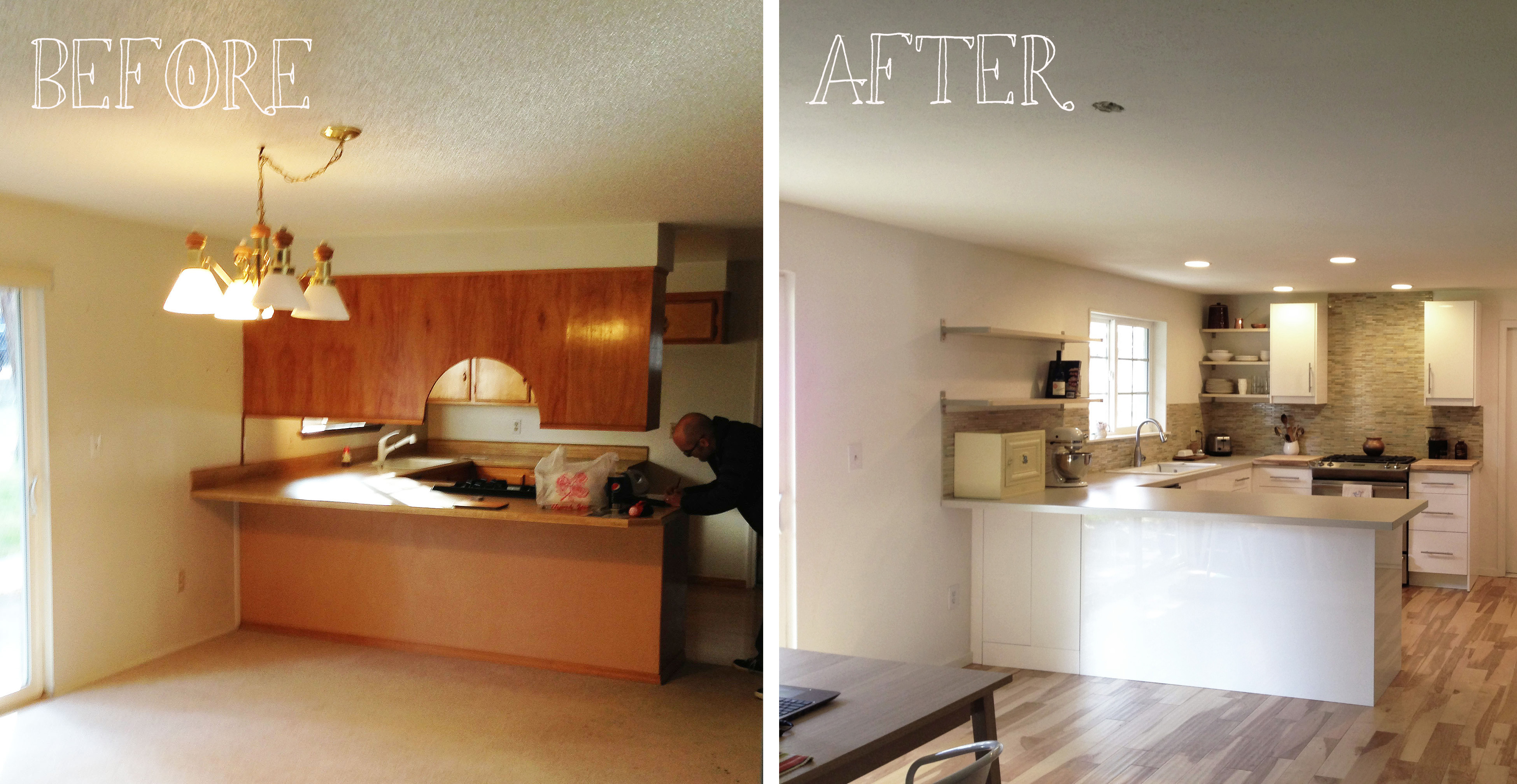 Small Kitchen Remodel Before And After With White Cabinets Backsplashes Combined Sink
