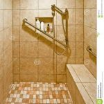 small mosaic tile flooring idea in handicap accessible bathroom design with big cream tile wall and stainless steel handrail on the wal beneath shower head