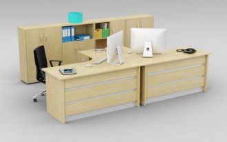 solidwood corner computer workstation for two persons file storage unit with open filing shelves