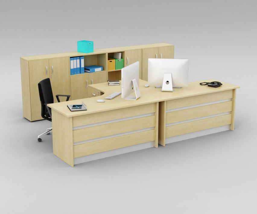 Gentil Solidwood Corner Computer Workstation For Two Persons File Storage Unit  With Open Filing Shelves