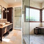 spa master bathroom remodel with slate tile in brick pattern plus modern bathroom vanity units with double sinks and mirror plus wall scones
