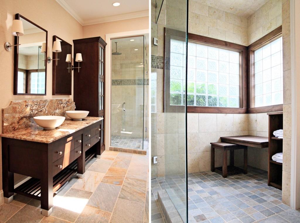 Spa Master Bathroom Remodel With Slate Tile In Brick Pattern Plus Modern Vanity Units