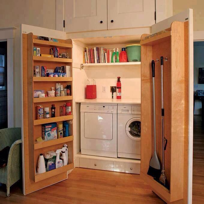 Spacious Broom Closet Design With Vacuum Cleaner And Door Storage For  Brooms And Cleanser Solution And