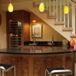 splendid industrial stools feats with black countertop in dashing under stair basement wet bar
