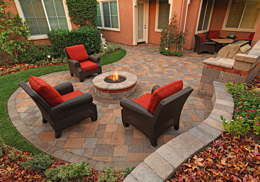 Beautiful Spool Chairs With Orange Mattress For Outdoor Patio A Built In And Round Fire  Pit In