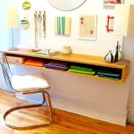 stained wall mount desk with under shelf for storing files a modern chair some wall decoration wood floors idea