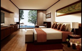 strong maroon color for bed cover and maroon rug brown pillows wood planks floors long floating wood media console