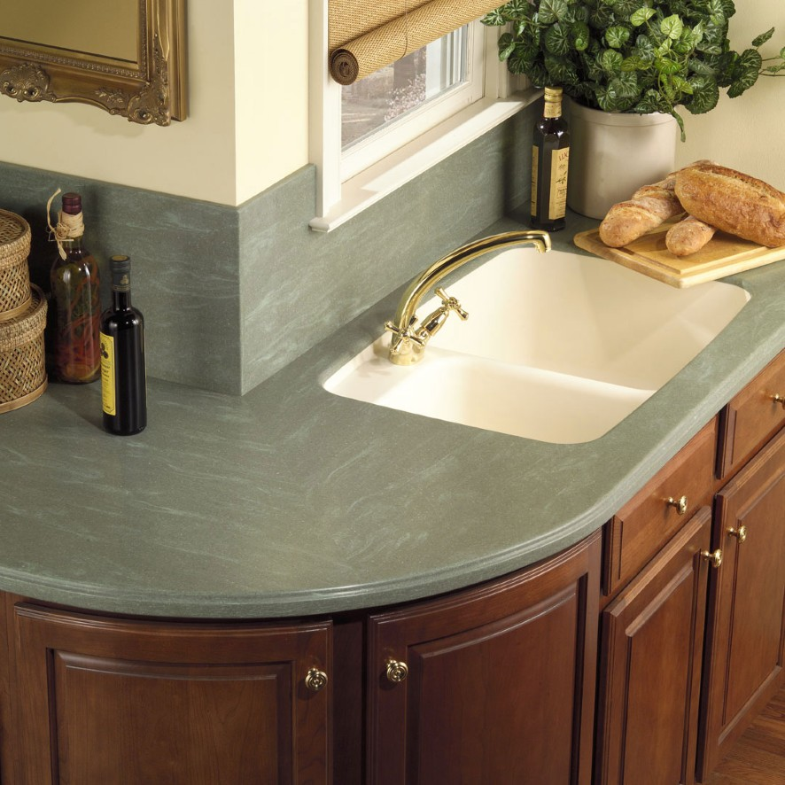 Creative Kitchen Counter-top Design Disguises Low Cost