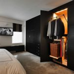 Stunning Custom Closets Nyc From Black Wood Material With Wardrobe Storage And Basket Plus Tie Stotage In Bedroom