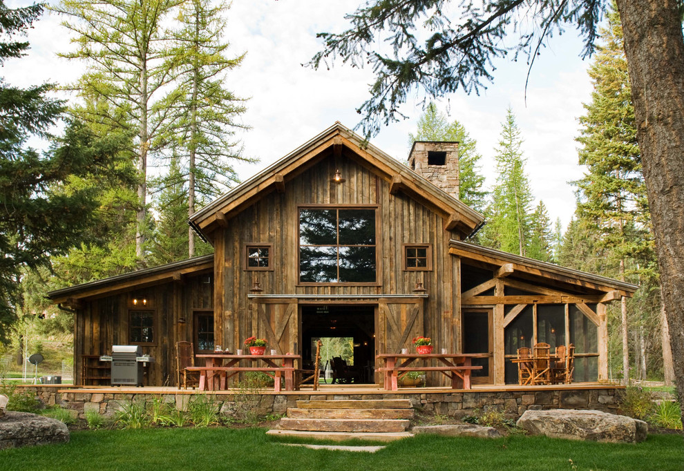 stunning natural wooden pole barn house design with glass accent and wonderful outdoor plant shelves on