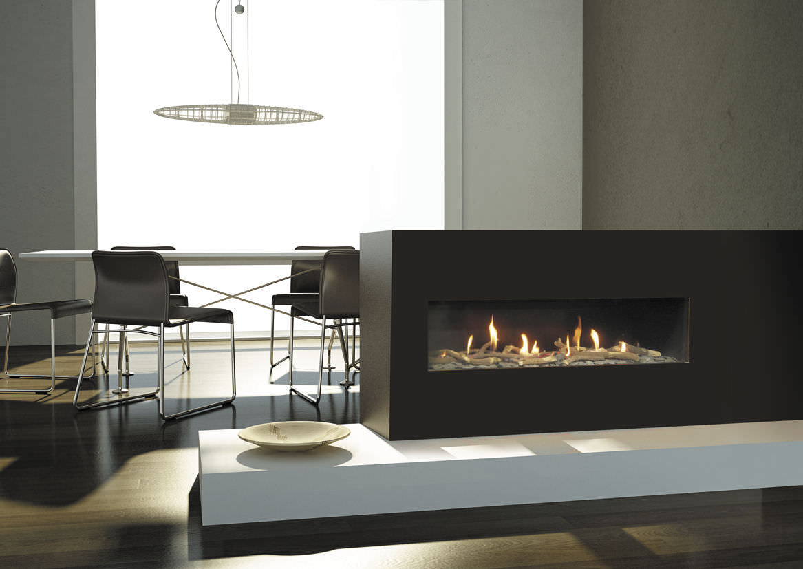 two sided fireplace warms spacious interior effortless with