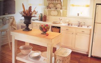 stunning white mid century kitchen cabinet with simple rectangle island with uique basket and fruit basket and kitchen tool basket and open racks