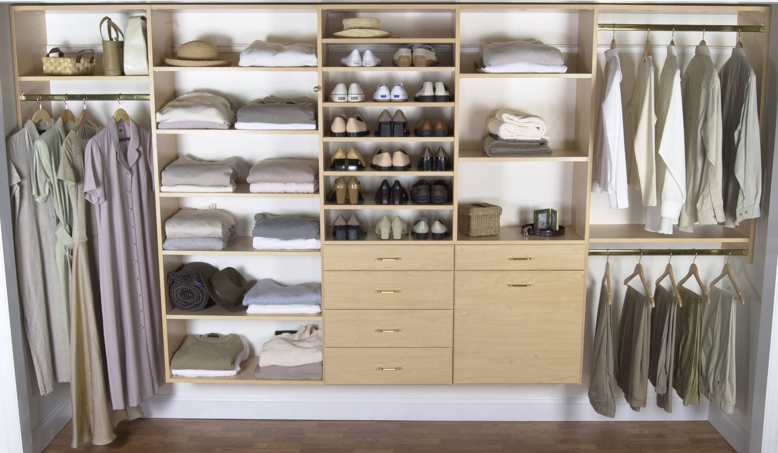 California closets las vegas - Stylish Custom Closets Nyc With Wardrobe Blanket Shoes Hat Storage On White Wall And Wood Floor