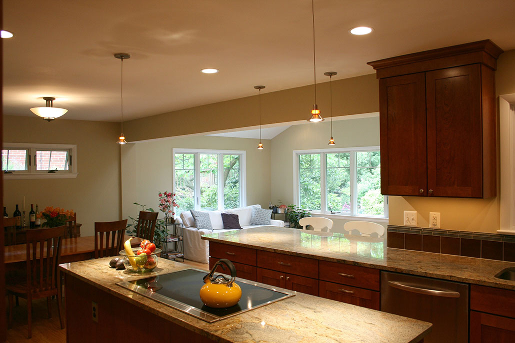 Stylish Kitchen Remodeling Northern Virginia With Brown Wooden Kitchen  Cabinets Plus Marble Countertop And White Wooden