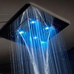 the numbers of blue light head shower