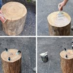 the steps of making a tree trunk stump table with scarters