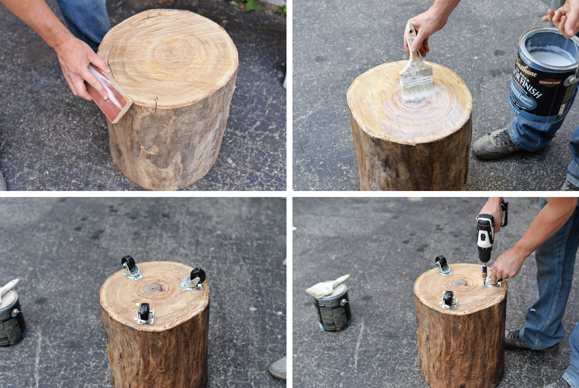 How to make a handmade natural tree stump side table for Stump furniture making