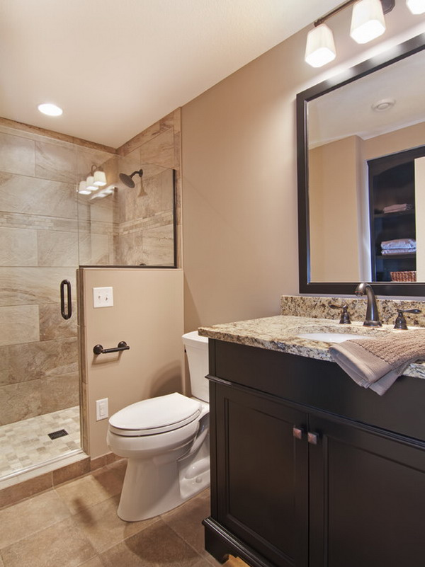 Accessible basement bathroom ideas with tasteful and less for Tiny bathroom tile ideas