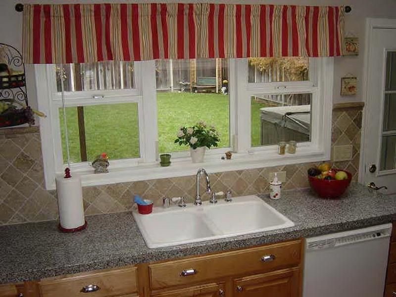 Top Window Curtain In Vertical Strip Patterns A Tissue Roll Double  Porcelain Sink With Stainless Steel