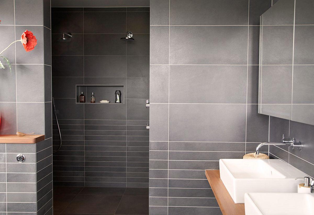 Total Grey Bathroom Design With White Sink Idea Beneath Grey Storage Aside  Walk In Shower Design